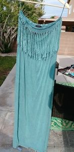 Dresses & Skirts - Boho turquoise acid wash stretch maxi dress